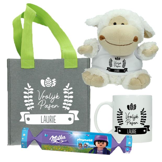 Paaspakketje met naam incl. Milka - Eitjes - Vilten mandje + mok + knuffel met naam + Milka en Playmobil bonbon