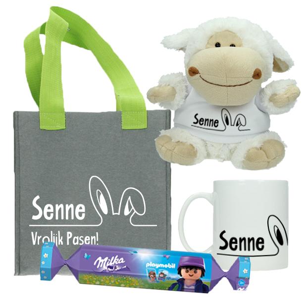 Paaspakketje met naam incl. Milka- Oortjes - Vilten mandje + mok + knuffel met naam + Milka en Playmobil bonbon