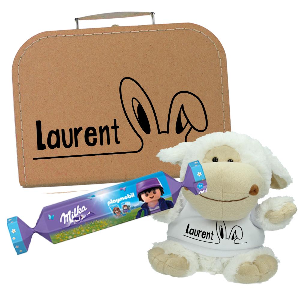 Paaspakket met naam - Koffertje + Knuffel + Milka en Playmobil bonbon - Oortjes