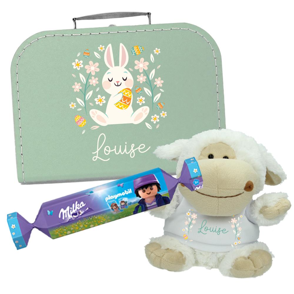 Paaspakket met naam - Koffertje + Knuffel +  Milka en Playmobil bonbon - Konijn