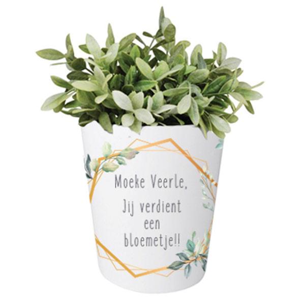 Moederdag bloempotje met naam - Botanical