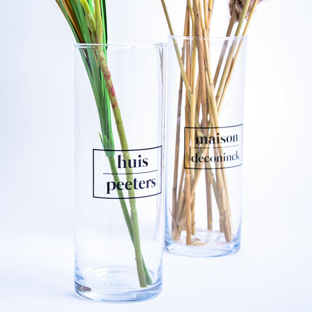 Gepersonaliseerde glazen vaas (excl. bloemen)