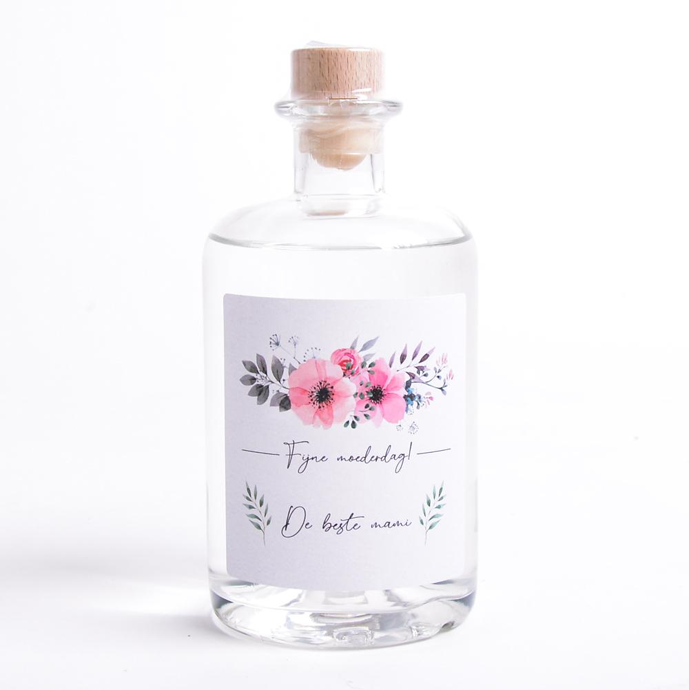 Moederdag Gin met eigen etiket en naam - Floral