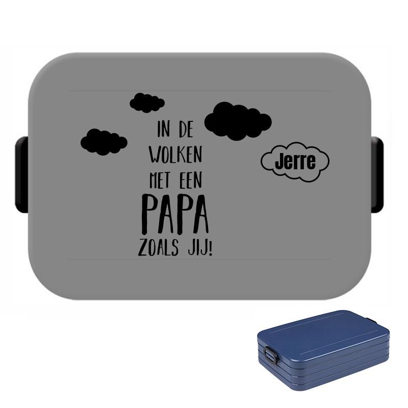 Papa lunchbox large met naam - In de wolken met een papa zoals jij