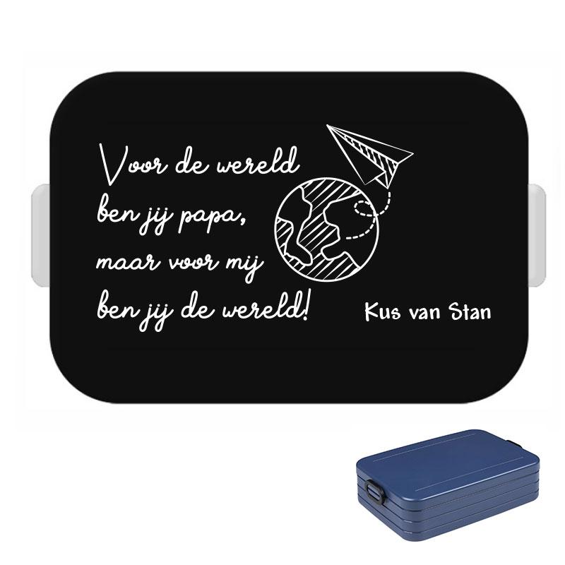 Papa lunchbox large met naam - Voor mij ben jij de wereld