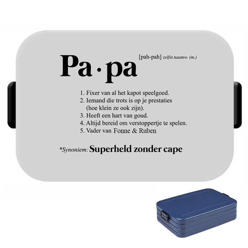 Papa lunchbox large met naam - Superheld zonder cape