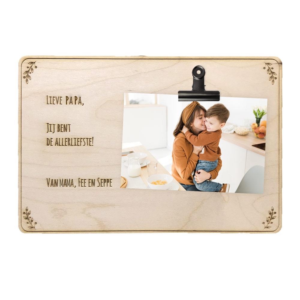 Vaderdag houten clipboard met tekst
