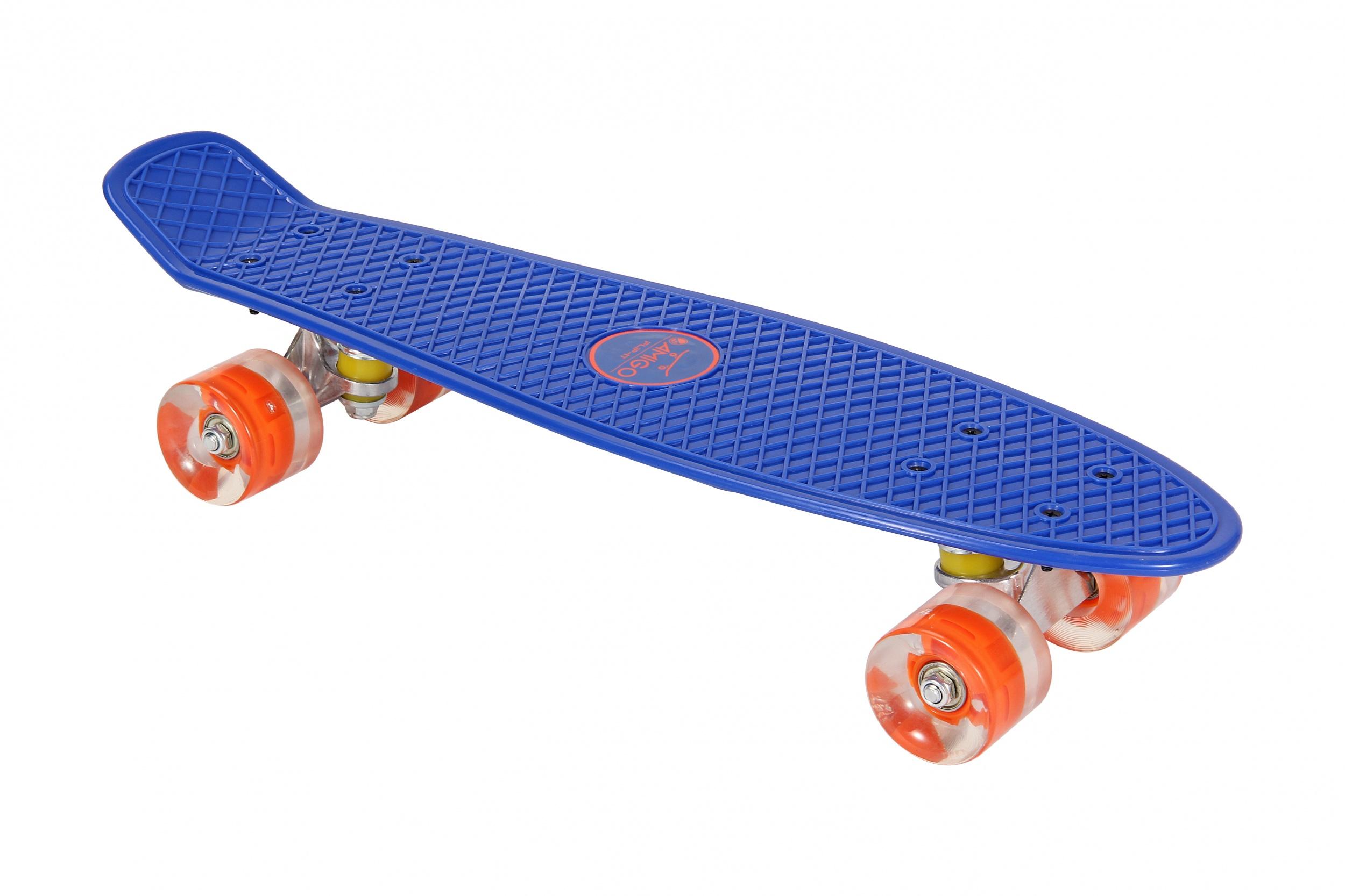 Skateboard met Led-verlichting blauw - oranje