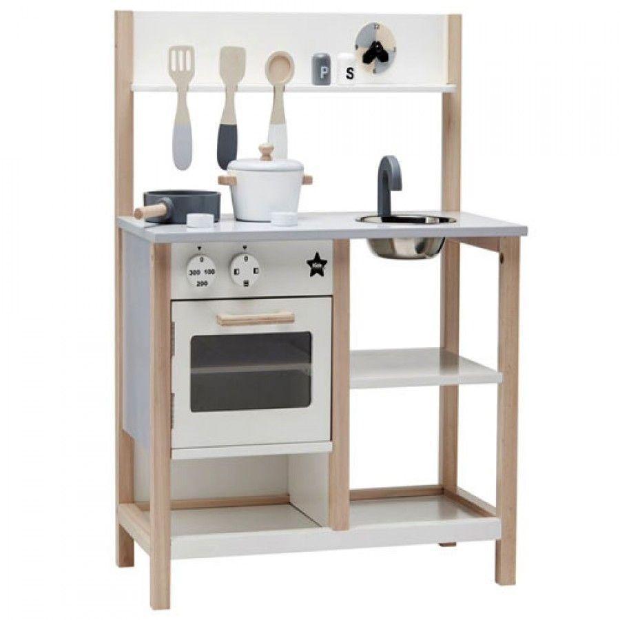 Kids Concept houten speelgoed keukentje - Natural/Wit