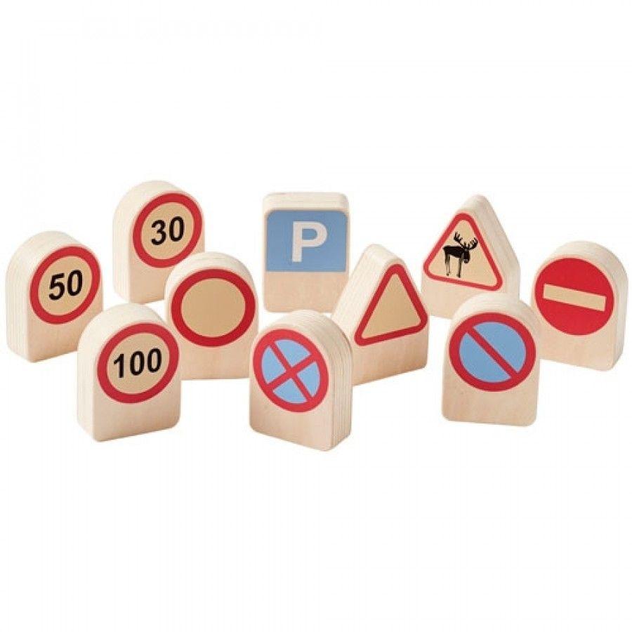 Kids Concept set van 10 houten verkeersborden