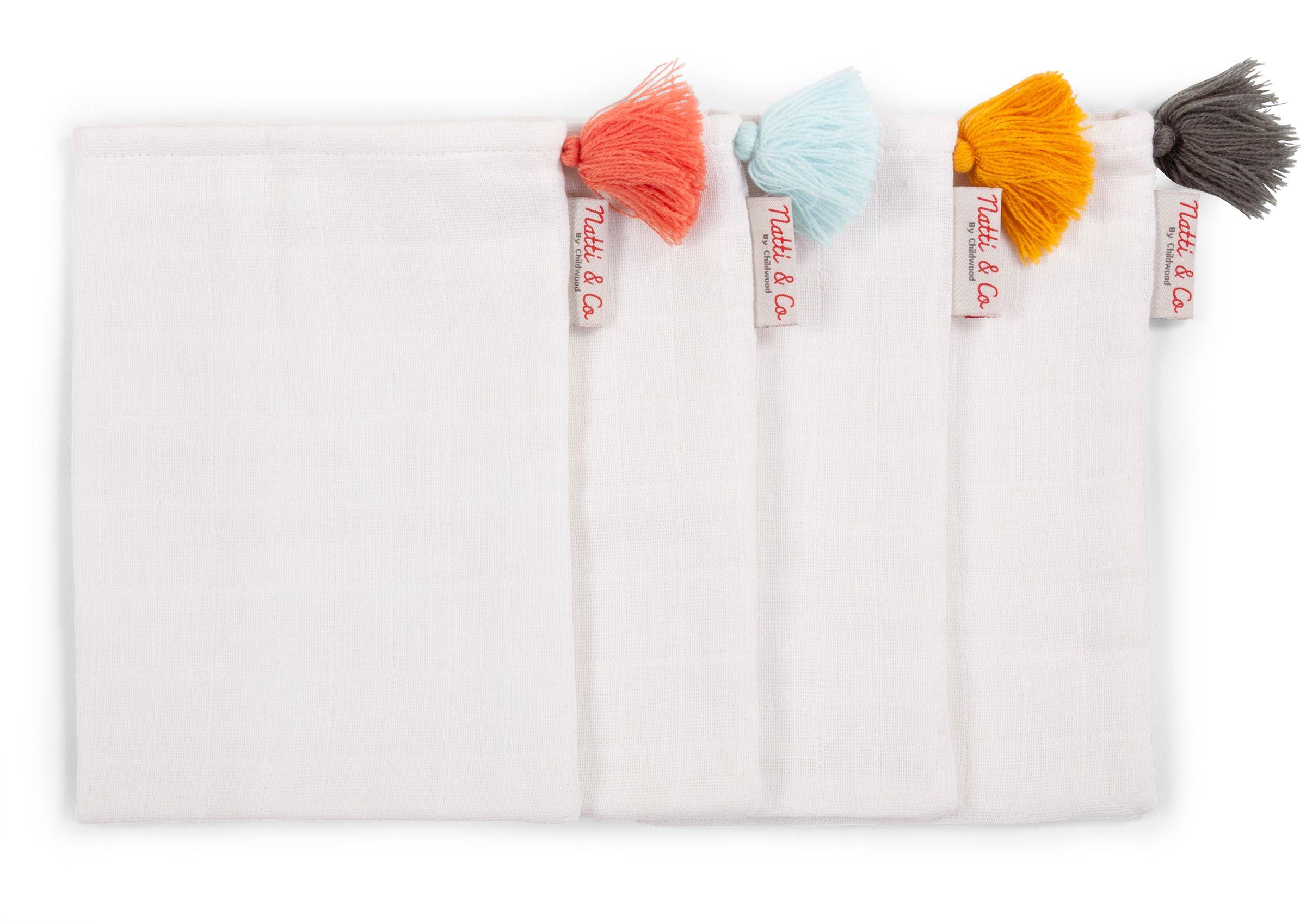 Gants de toilette tetra - coton - blanc + pompons - 4 pièces