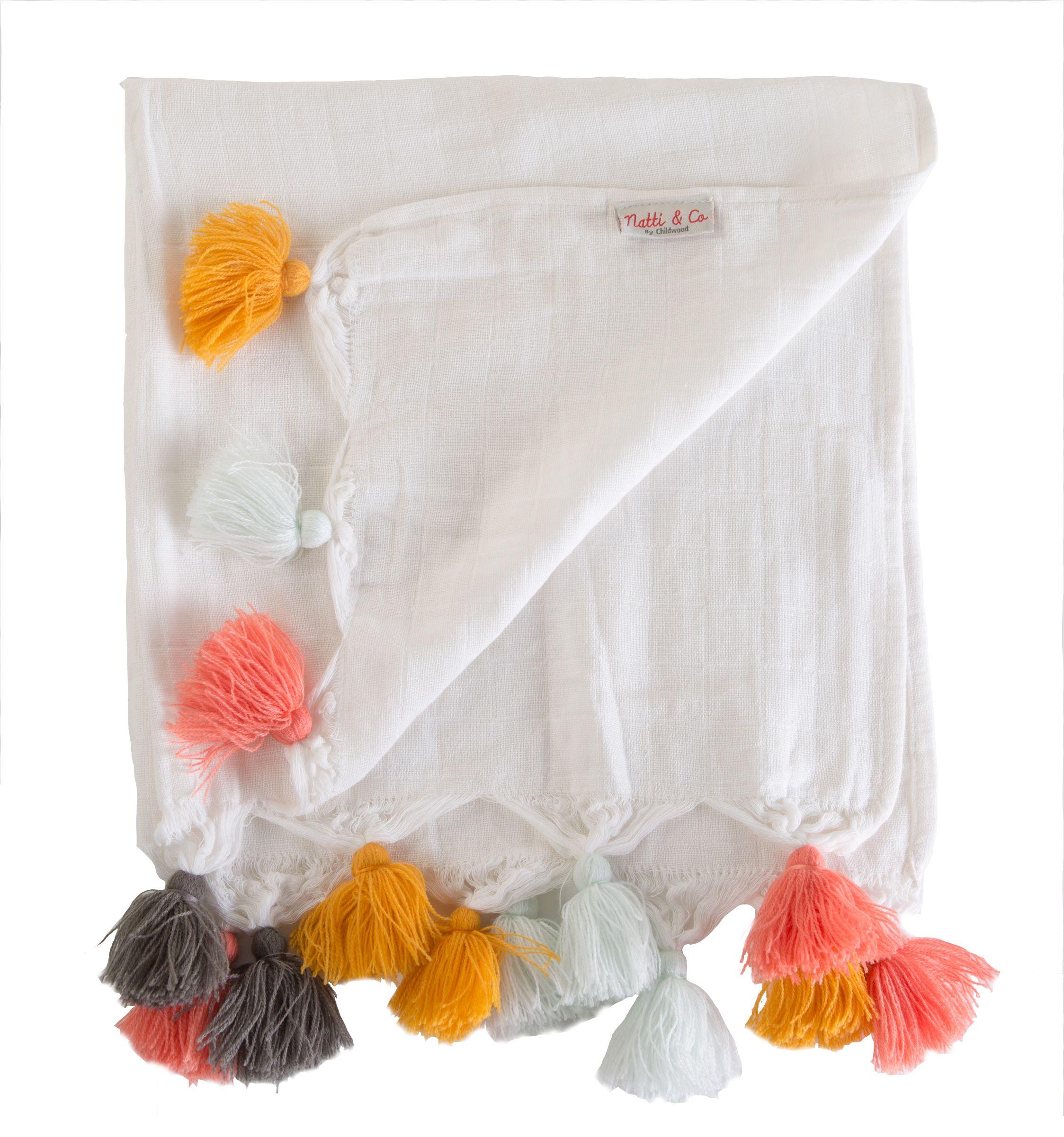Langes tetra - coton blanc + pompons - 4 pièces