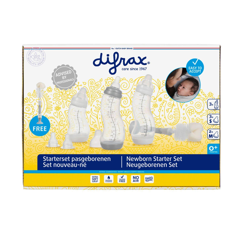 Difrax zuigflessen startersset met flessenborstel - wit/grijs