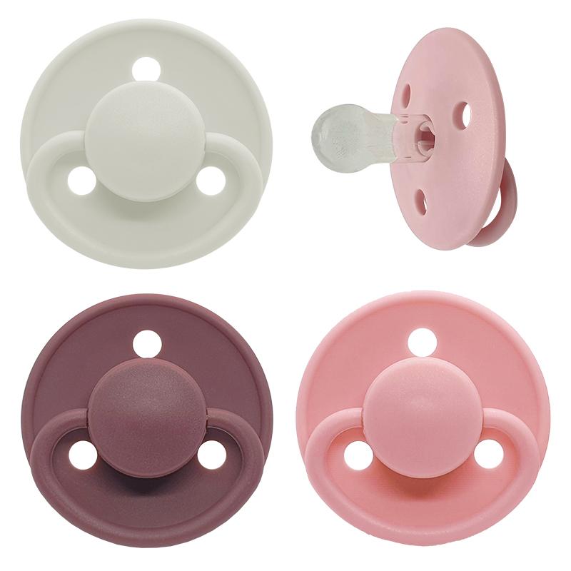 Set van 3 fopspenen Mininor - Silicone - 0-6 maand -  Roze, Pruim en Wit