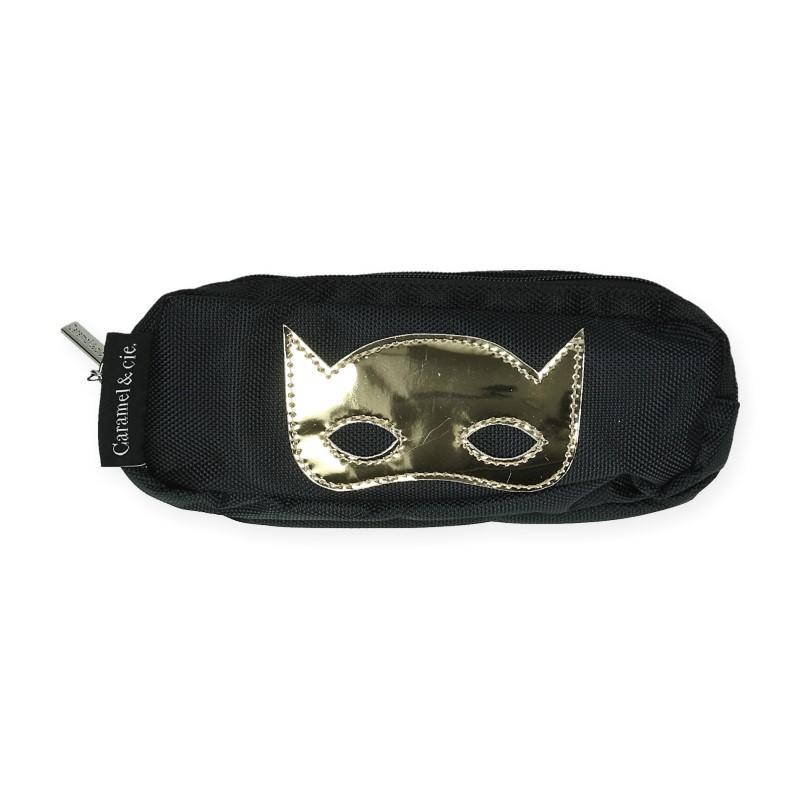 Caramel & Cie dubbele pennenzak Masker Zwart