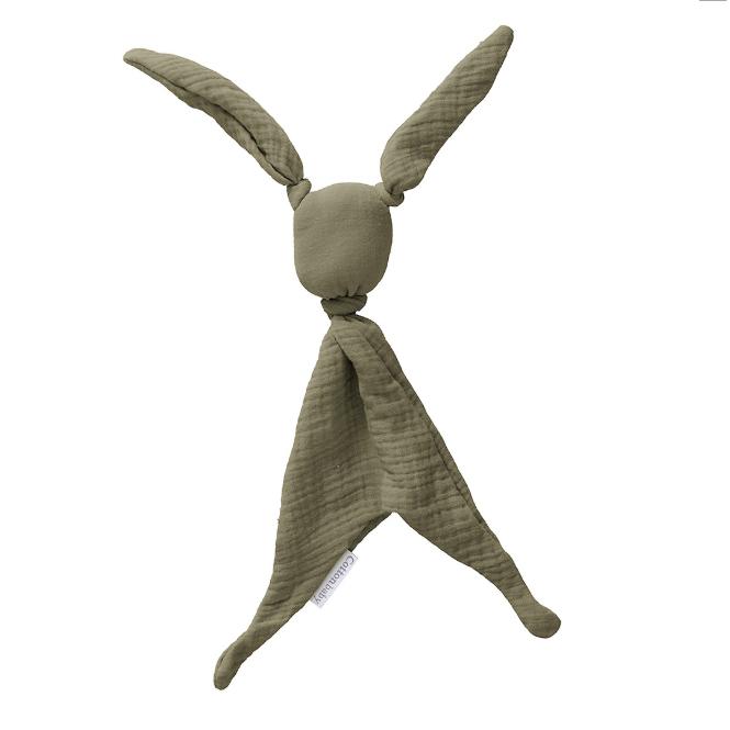 Cottonbaby Knuffeldoekje konijn hydrofiel  - kakigroen