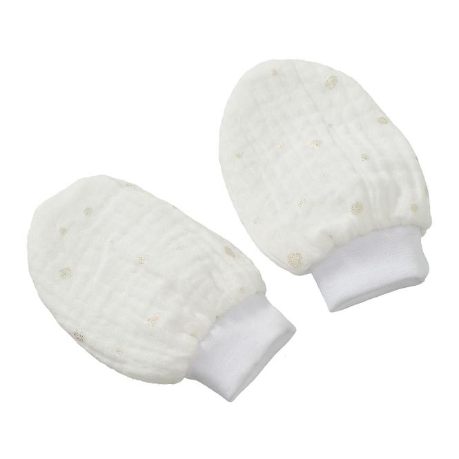 Cottonbaby krabwantjes hydrofiel - wit/goud