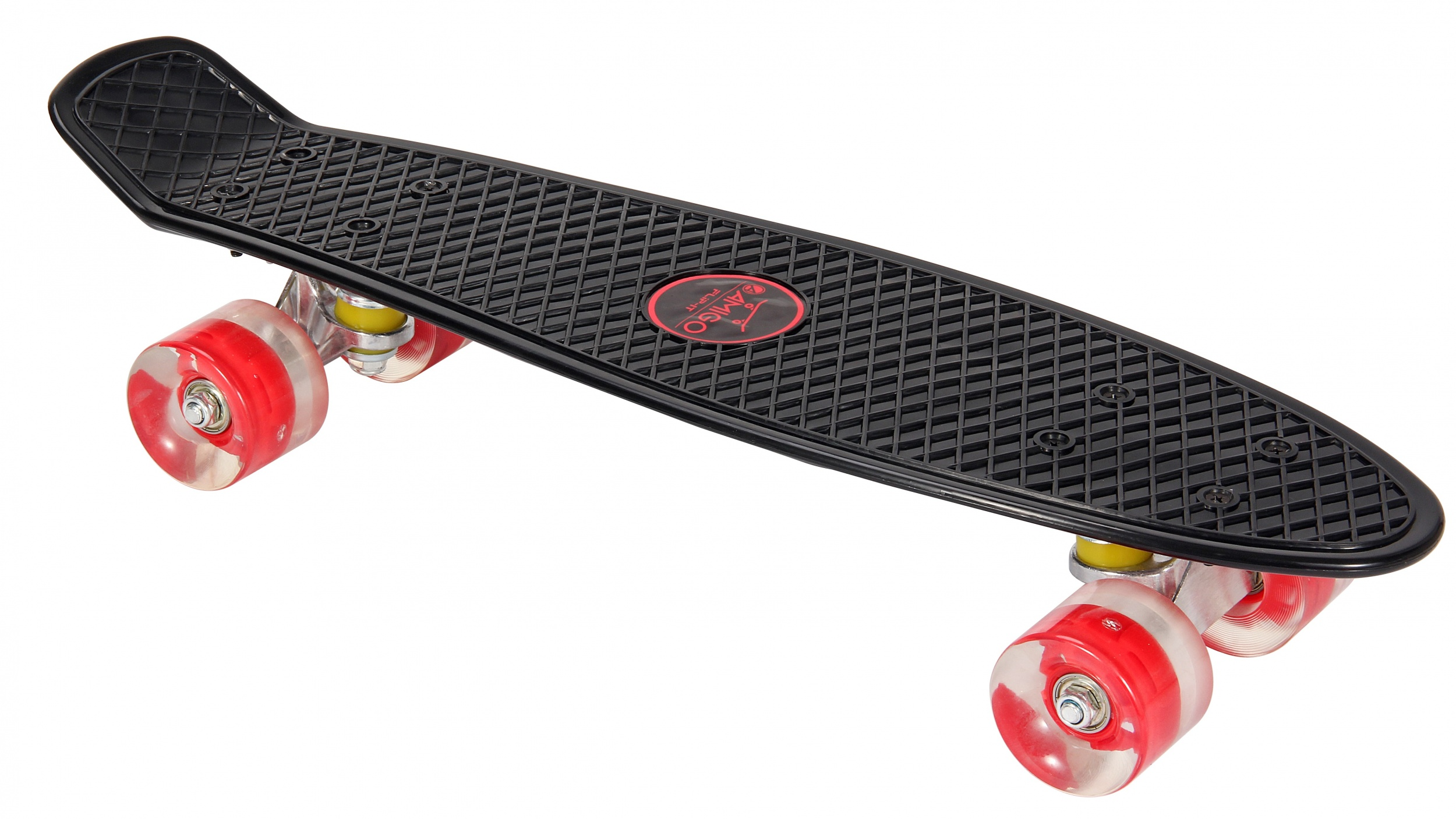 Skateboard met Led-verlichting zwart - rood