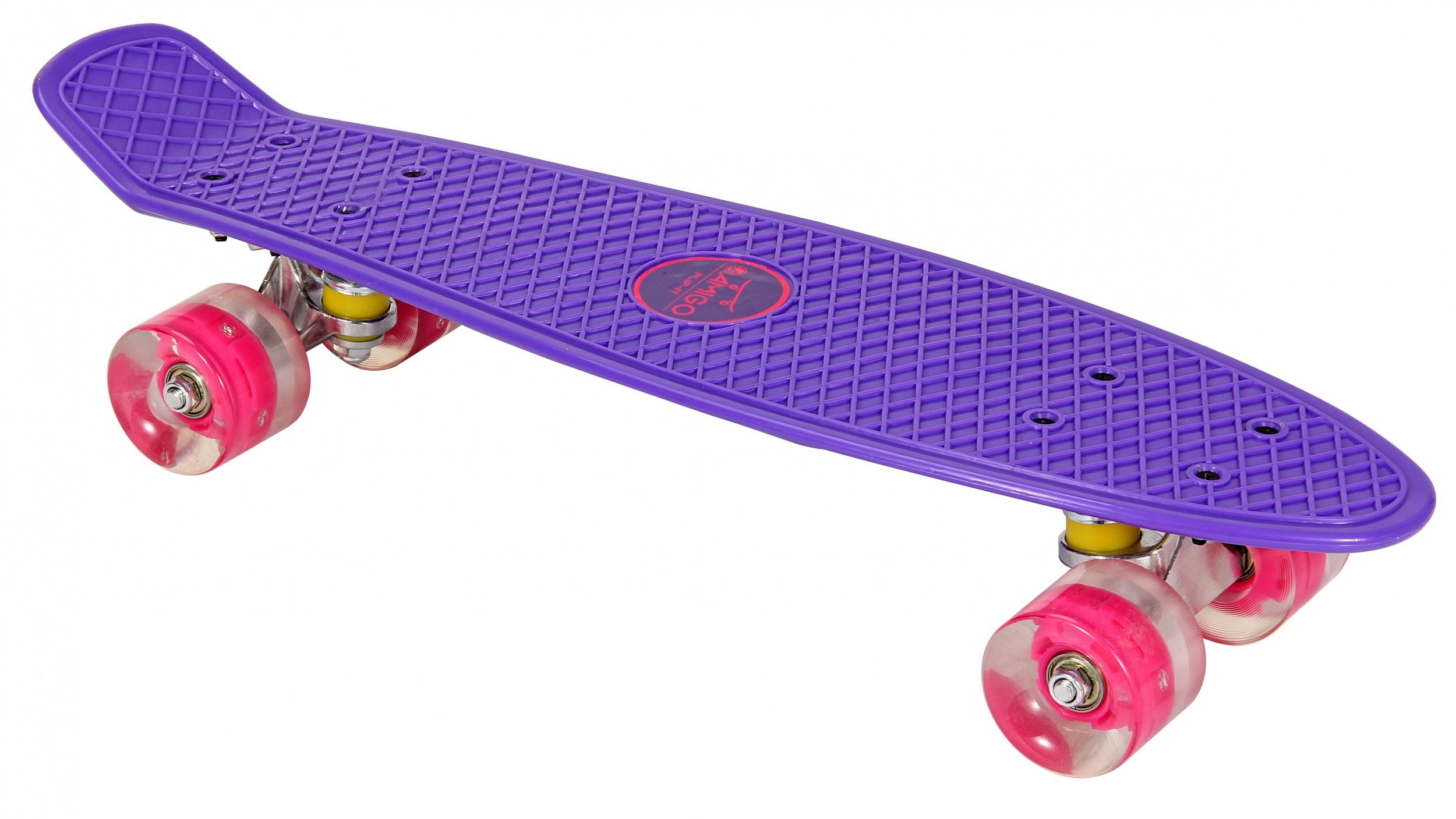 Skateboard met Led-verlichting paars - roze