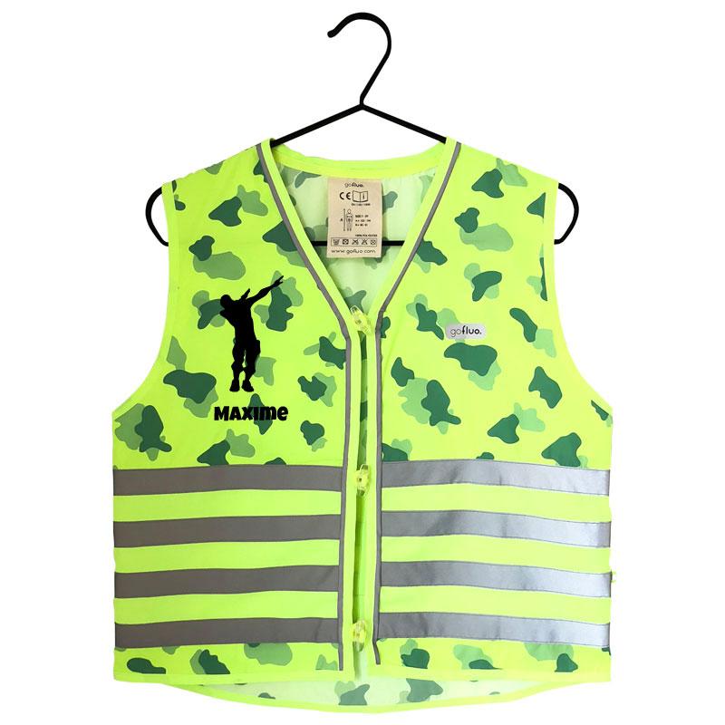 Go Fluo Veiligheidshesje met naam - Camouflage