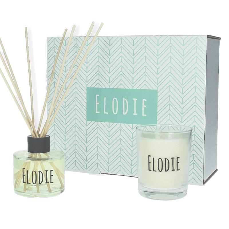 Coffret cadeau personnalisé - Bougie et bâtonnets parfumés