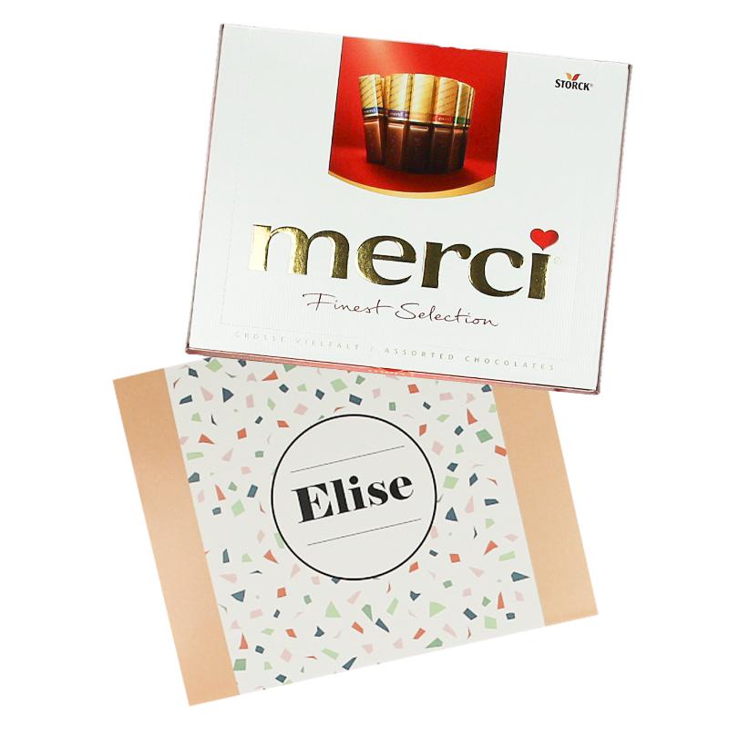 Gepersonaliseerd Merci chocolade assortiment 250 gr