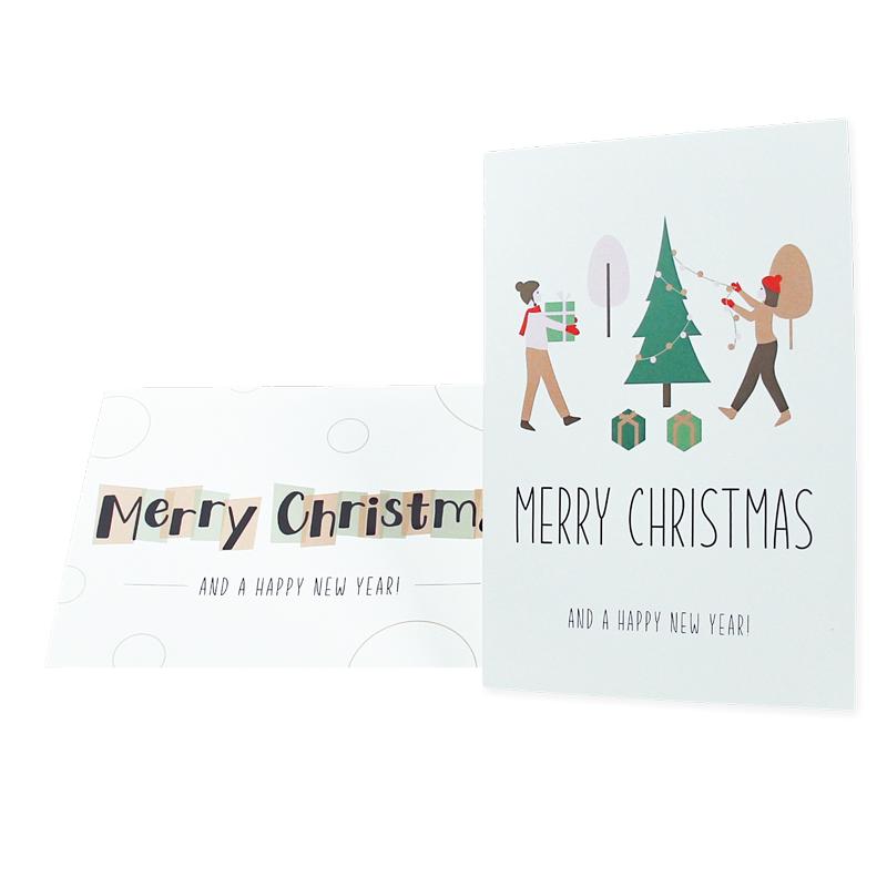 Kerstkaarten - Typografisch - Set van 10