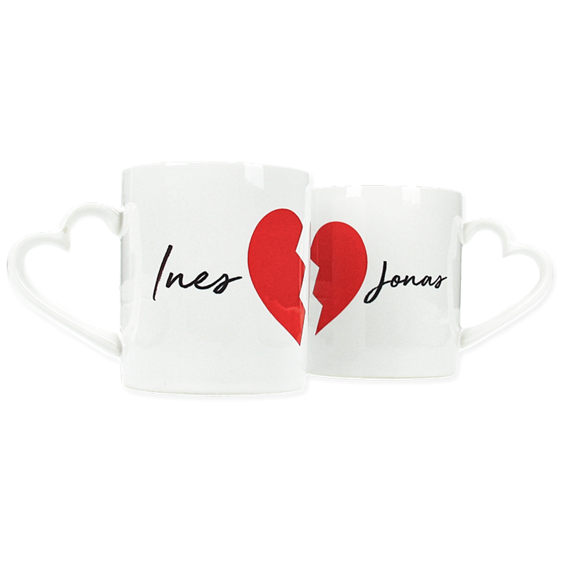 Ensemble de 2 mugs personnalisés - Coeur Rouge