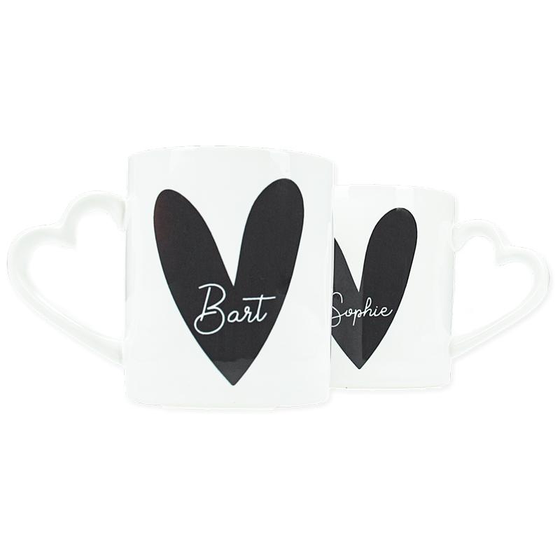 Ensemble de 2 mugs personnalisés - Coeur noir