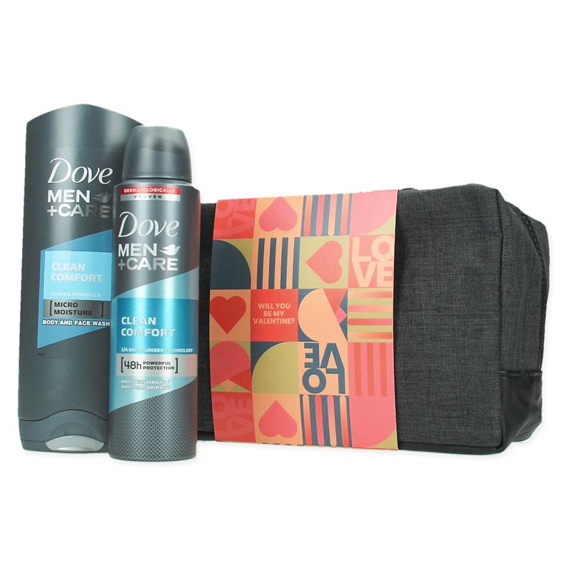Coffret cadeau personnalisé Dove Men Clean avec gel douche, déo et trousse de toilette confort