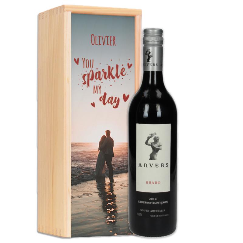 Coffret à vin personnalisé  Anvers Brabo (rouge)