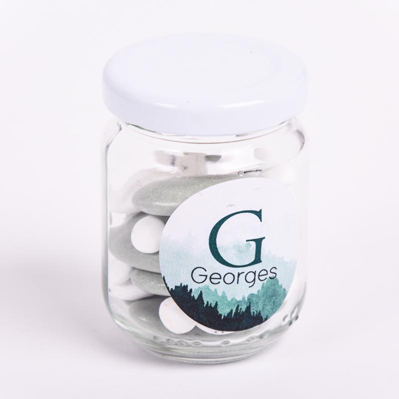 Glazen potje met sticker Georges