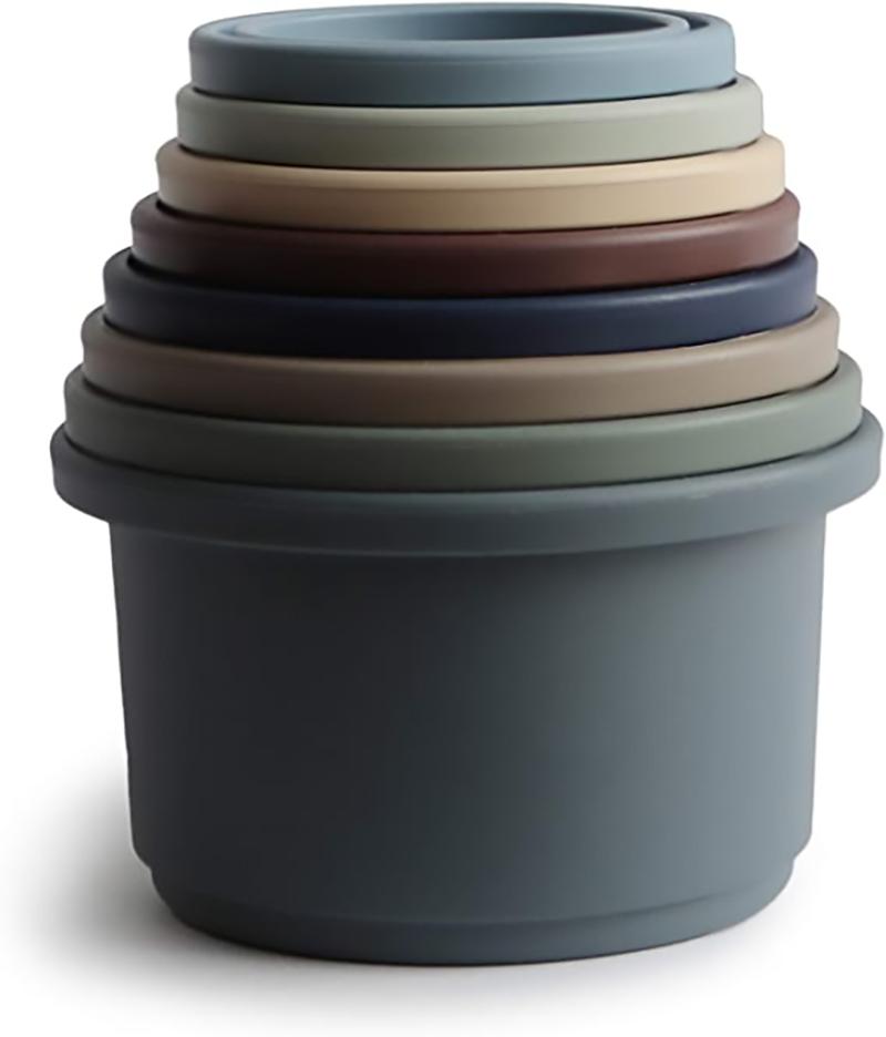 Mushie stacking cups stapeltoren - Forest - Set van 8