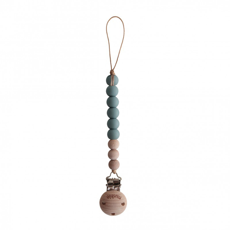 Mushie Speenketting Cleo - Cadet Blue/Wood