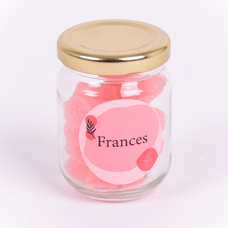 Glazen potje met sticker Frances
