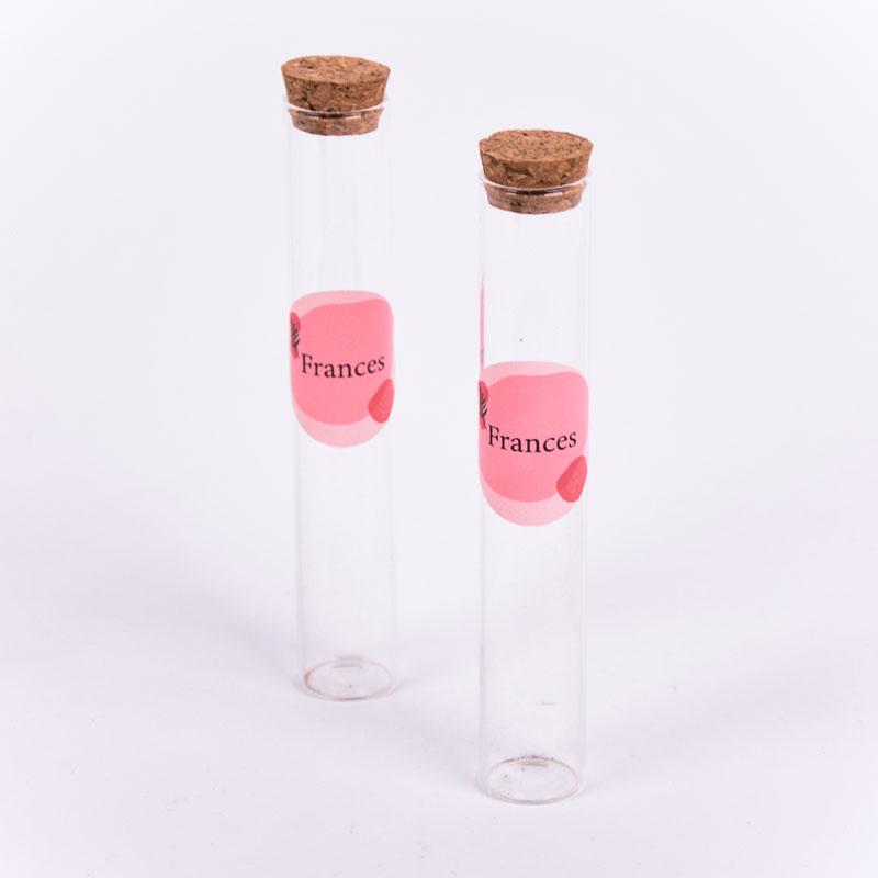 Glazen tube met sticker Frances
