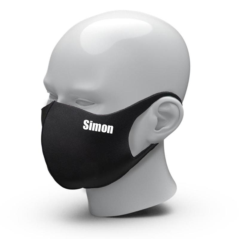 Mondmasker met naam voor volwassenen - Pure Black