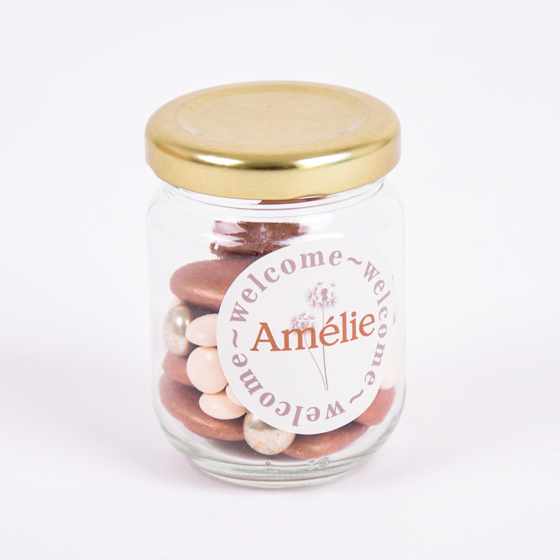Glazen potje met sticker Amélie
