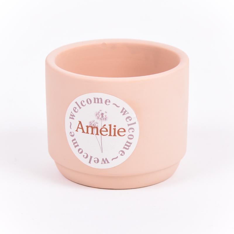 Stenen potje met sticker Amélie
