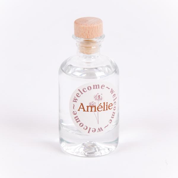 Gin flesje met sticker Amélie