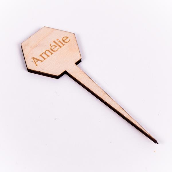 Gegraveerde plantenprikker zeshoek Amélie