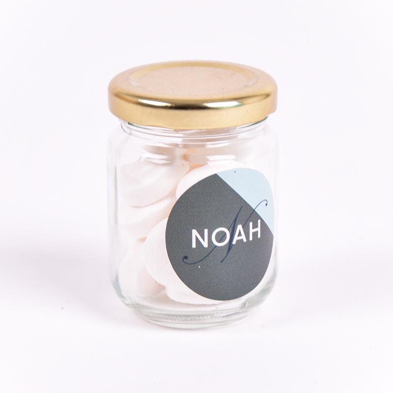 Glazen potje met sticker Noah