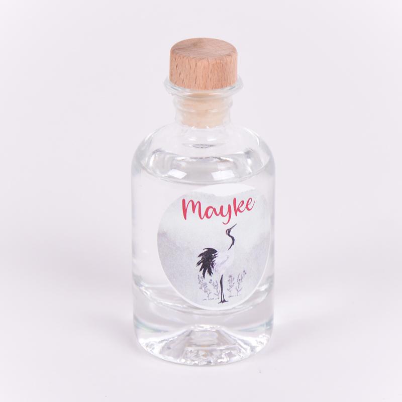 Gin flesje met sticker Mayke