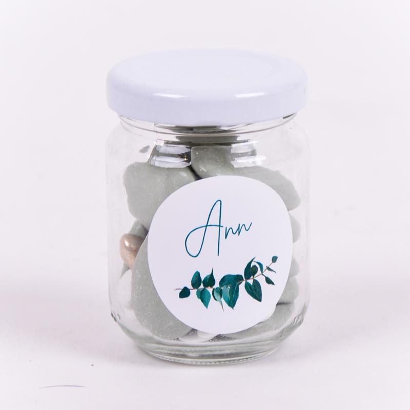 Glazen potje met sticker Ann