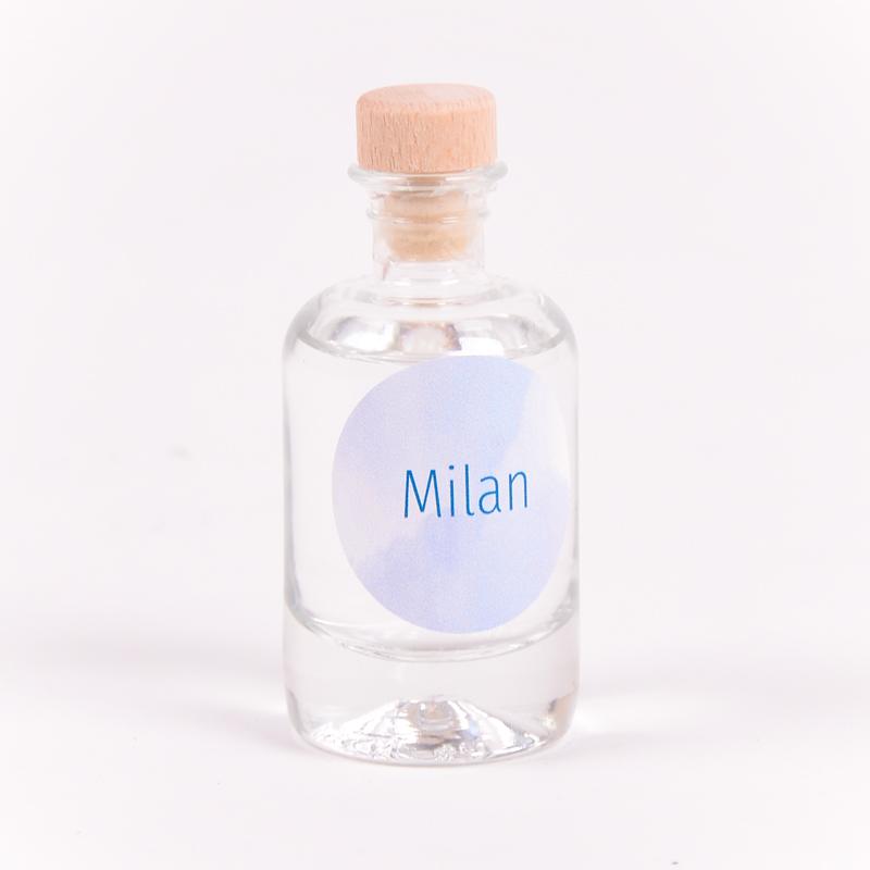 Gin flesje met sticker Milan