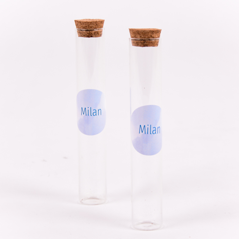 Glazen tube met sticker Milan