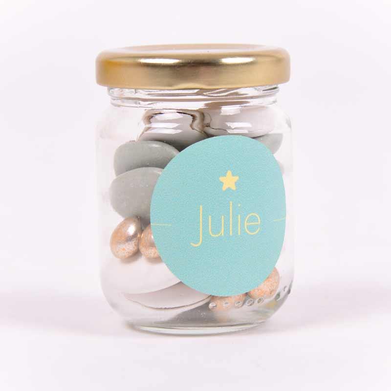 Glazen potje met sticker Julie