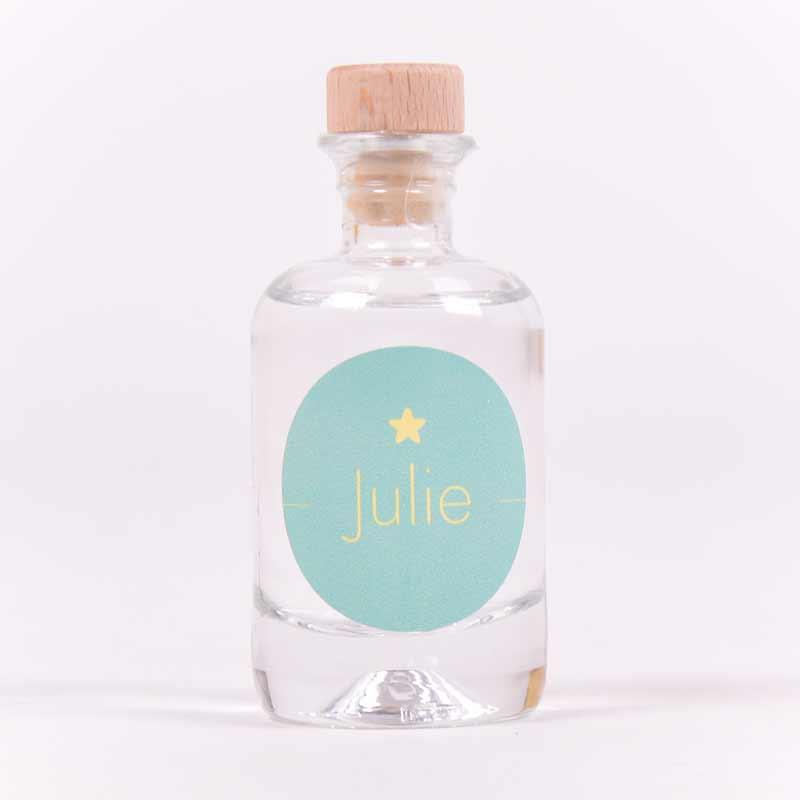 Gin flesje met sticker Julie