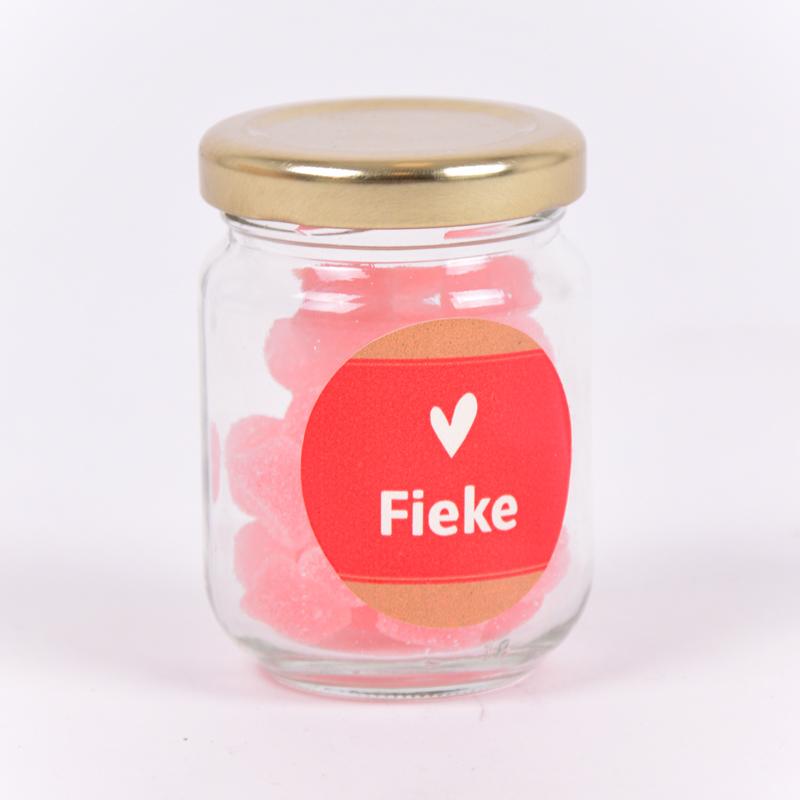Glazen potje met sticker Fieke