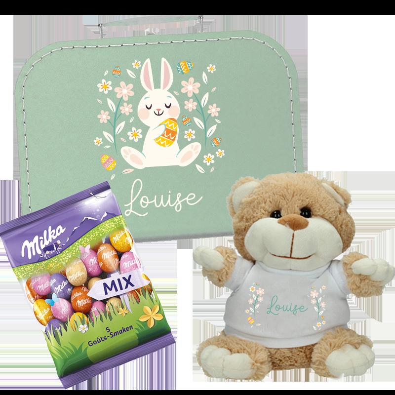 Paaspakket met naam - Koffertje + Knuffel +  Milka - Konijn